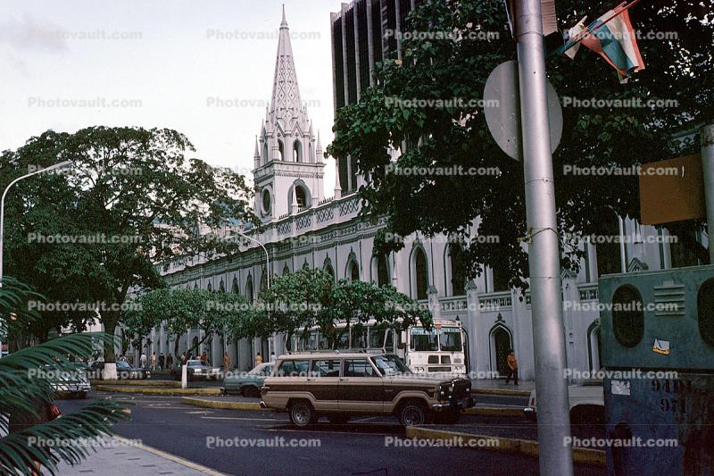 Cathedral, Jeep Wagoneer, cars, Caracas, Venezuela