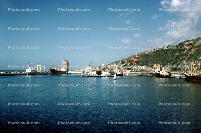 Docks, harbor, hillside, waterfront, buildings, hills, mountains, city, La Guaira, Maiquetia, Venezuela