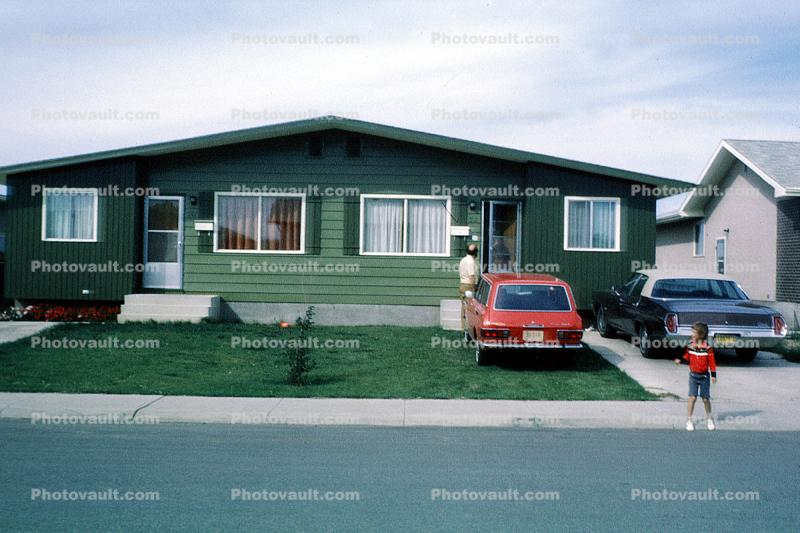 Home, House, building, Duplex, cars, 1965, 1960s