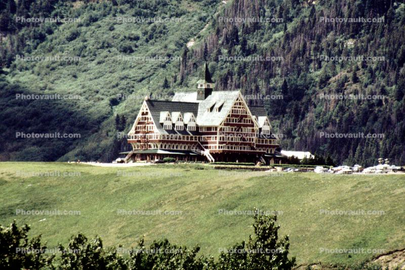 Prince of Wales Hotel, wooden 7 story building, spire, Waterton Lakes National Park