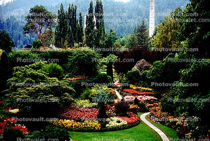 Garden, flowers, path, trees, The Butchart Gardens, Vancouver