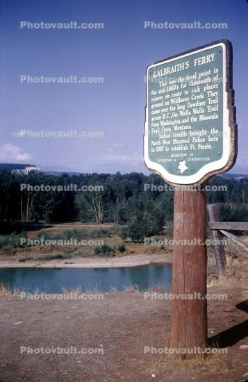 Galbraith's Ferry, Sign, signage, Fort Steele