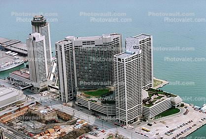 Pier, docks, Building, parking lot, Lake Ontario, waterfront, highrise