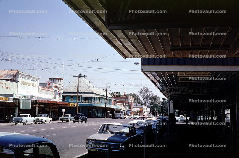 Cars, shops, automobile, Wangarata, 1950's