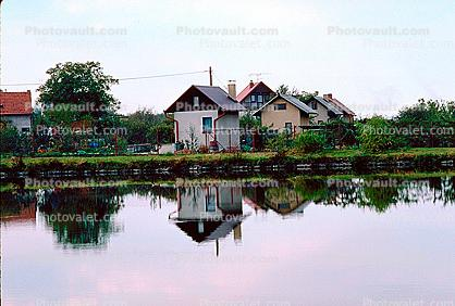 Building, Reflection, Homes, Houses, Lake
