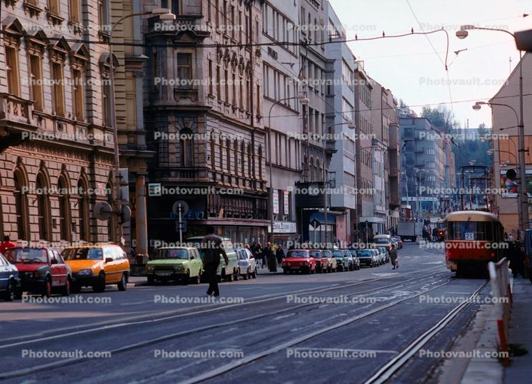 Cars, Trolley, Street, Rail, Buildings, Prague