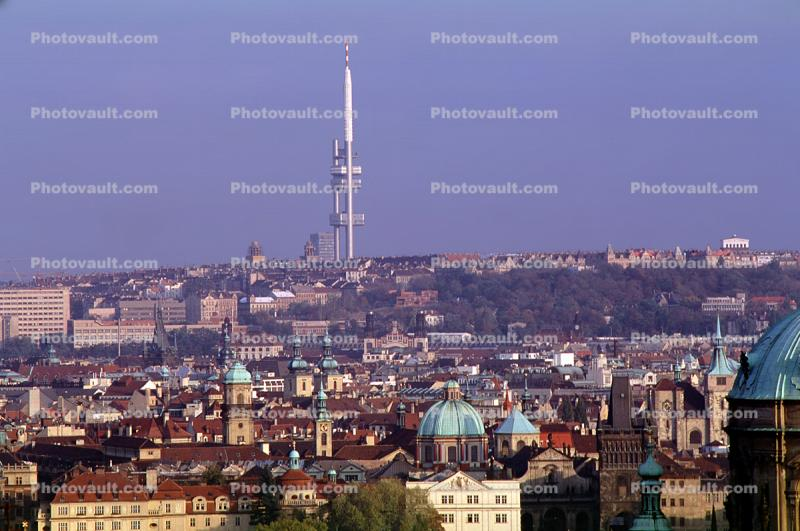 Television Tower at Zizkov, skyline, buildings, landmark