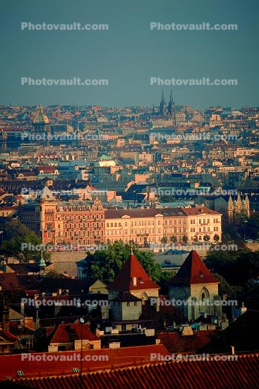 Skyline, buildings, Cathedral, Prague