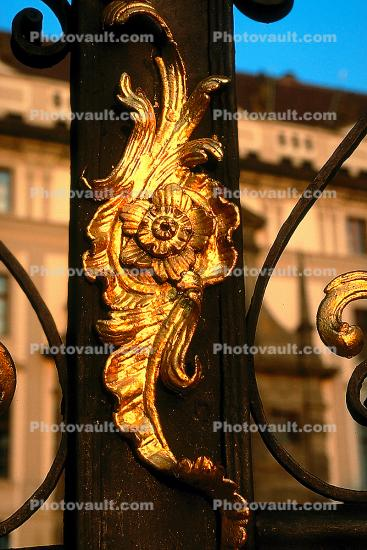 Ornate Gate, Wrought Iron, decorative, Hradcany Castle, Prague