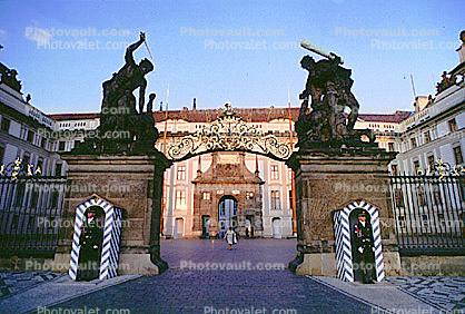 Entrance Gate, Mathais Gate (back), Soldier, Guard, Guardhouse, Hradcany, Castle Prague