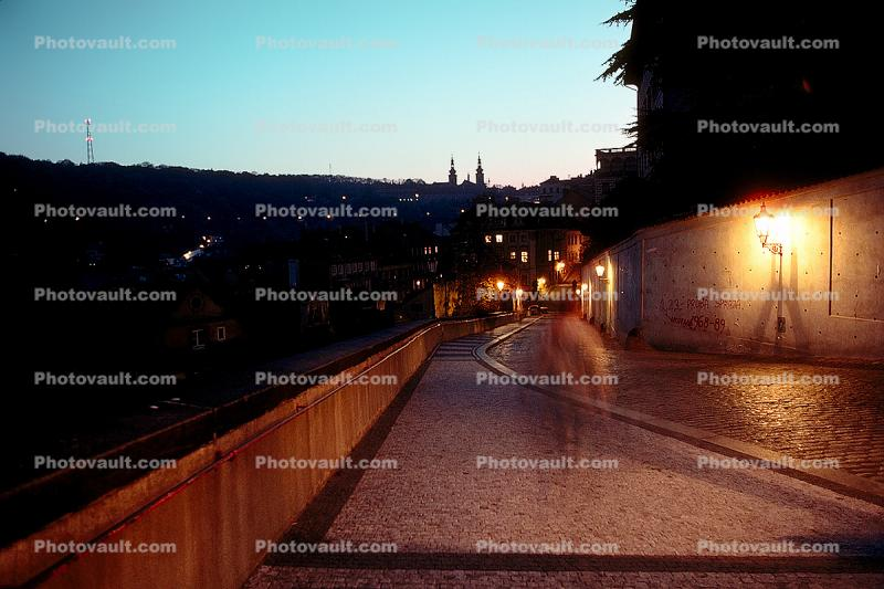 Cobblestone Street, dusk, evening light