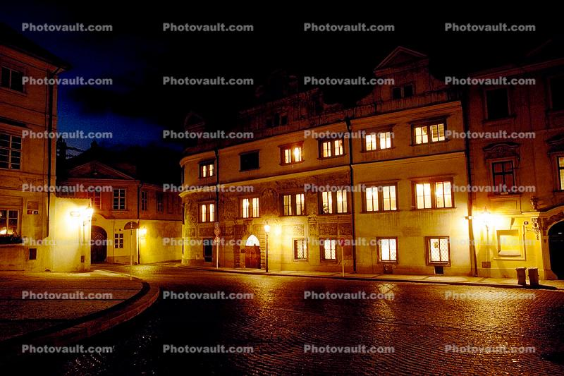 Hradcany Square, Prague, night, nightime
