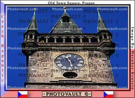 Kostel panny marie pred tynem (Tyn Church), Old Town Square, Prague, outdoor clock, outside, exterior, building, roman numerals