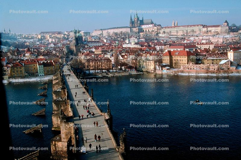 Skyline, buildings, Charles Bridge, Vltava River, Castle