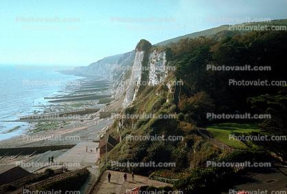 cliffs, beach, hills, Beachy Head, Eastbourne, England, Cliffs 200 meters high, 1950s