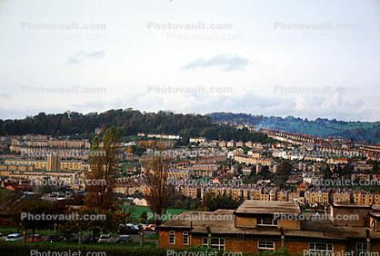 buildings, hills, homes, near Bath, England, 1950s