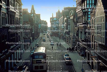 street, cars, Chester, England, 1950's