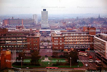 skyline, cityscape, buildings, gardens, tower, Coventry, England, 1950s