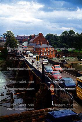 cars, river, water, automobile, vehicles, Chester, England, 1960s