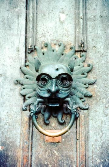 Door Knocker, demon, scary, mask, Durham Cathedral, England