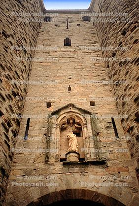 Statue, Fortress of Carcassonne, Cite de Carcassonne, keystone, stone wall, statue