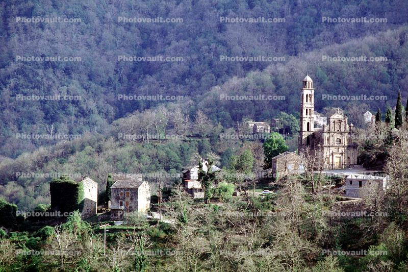Village, buildings, homes, houses, hill, hillside, church, tower, forest