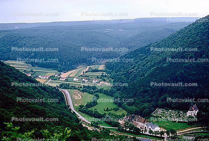 Forest, Valley, River, Mountain, Woodland, Trees, farmlands, fields