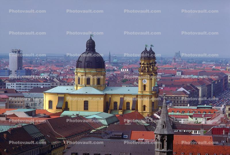 Theatinerkirche, Munich, Red Roofs, Rooftops, Cityscape