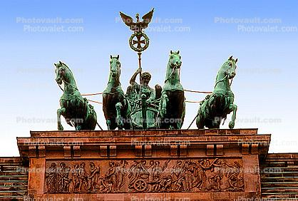 Quadriga, sculpture, Brandenberg Gate, Berlin, chariot
