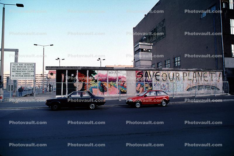 Checkpoint Charlie, the Wall, cars, Berlin