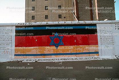 Star of David, German Flag, the Berlin Wall