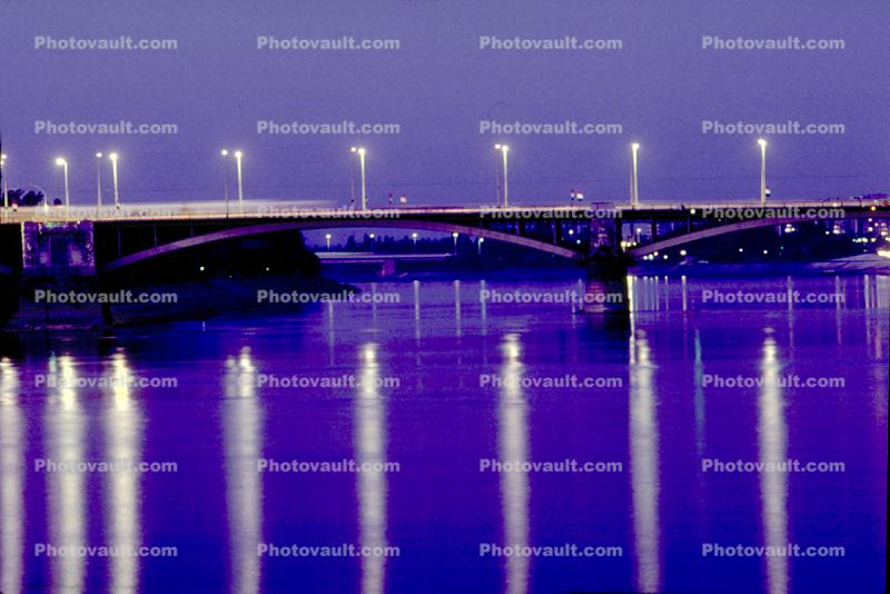 Street Lights reflecting in the Danube River, Budapest, Twilight, Dusk, Dawn