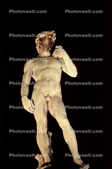 Statue of David, (copy), Florence, Italy, Night, Nighttime
