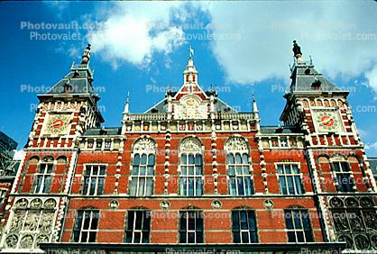 Amsterdam Central Station, Centraal Station, Building, Brick, Red, Clock Towers