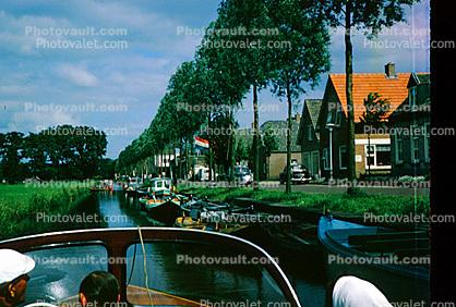 Canal, Waterway, Powerboat, Trees, 1950s