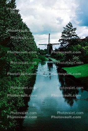 Windmill, Canal, Waterway, Trees, Reflection, 1950s