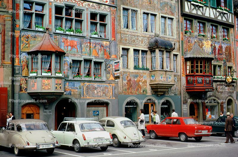 wall painting, ornate, building, windows, cars, Volkswagen, Switzerland, opulant, automobile, vehicles