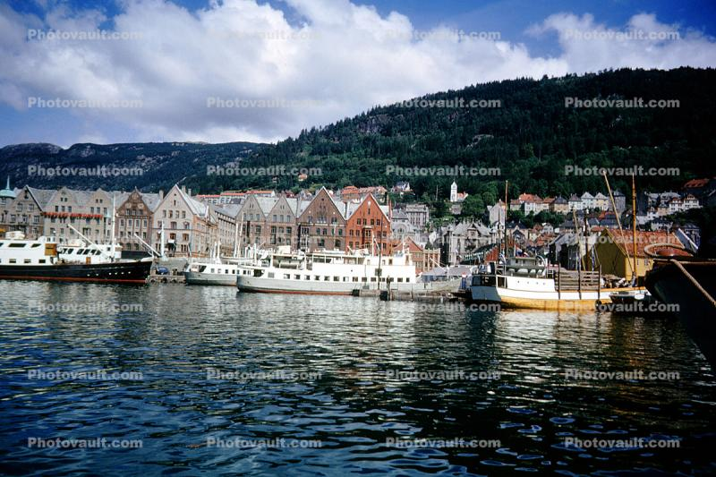 Homes, Houses, Hill, Harbor, Waterfront, Bergen