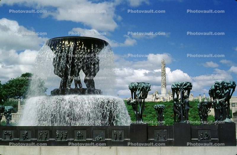 Water Fountain, Statues, aquatics, Frogner Park, The Monolith Statue, Vigeland Sculpture Park, Oslo