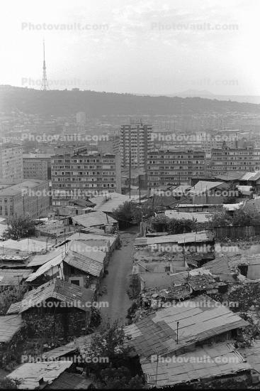 TV Radio Tower, roofs, homes, houses, shantytown, Yerevan