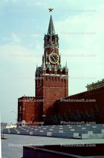 red square, clock tower, building, star