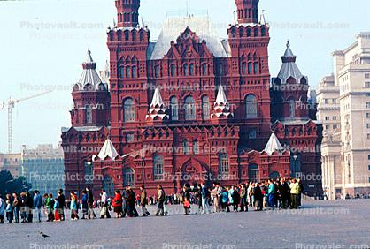 Museum of History, Red Square, people lined up for Lenins Tomb