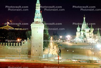 The Savior's Tower, wall, Red Square, St. Basil