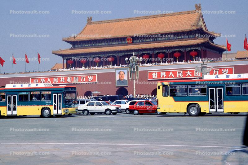The Tiananmen, Gate of Heavenly Peace, Cars, Automobiles, Vehicles