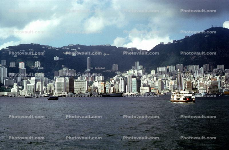Harbor, Docks, Waterfront, Skyline, Buildings, Hills, Apartments, Ferryboats, 1971, 1970s