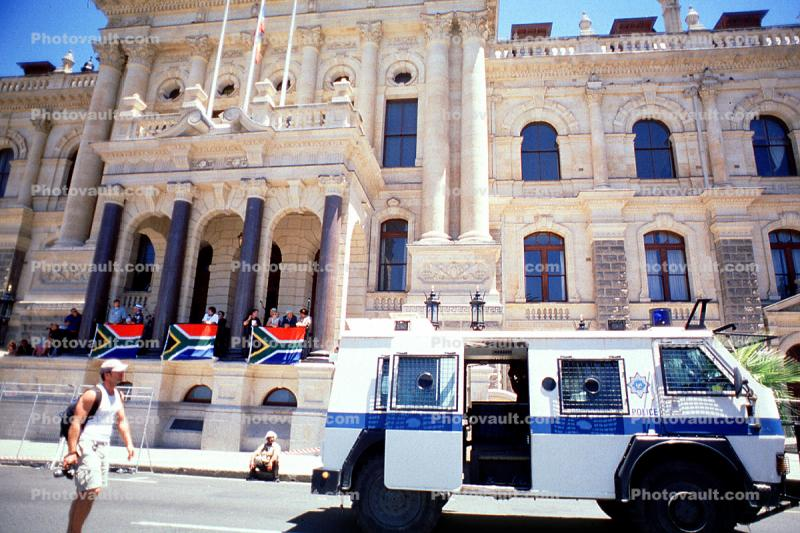 Armored Police Van, City Hall, Cape Town, government building