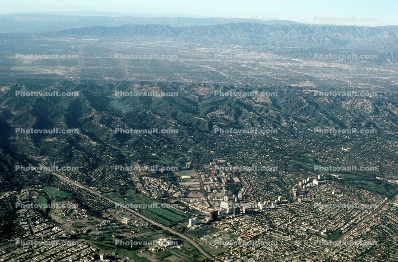 Westwood, UCLA, San Fernando Valley in the upper background of this image, Interstate Highway I-405
