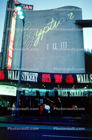 Egyptian Theater, Wall Street Movie, neon sign, marquee
