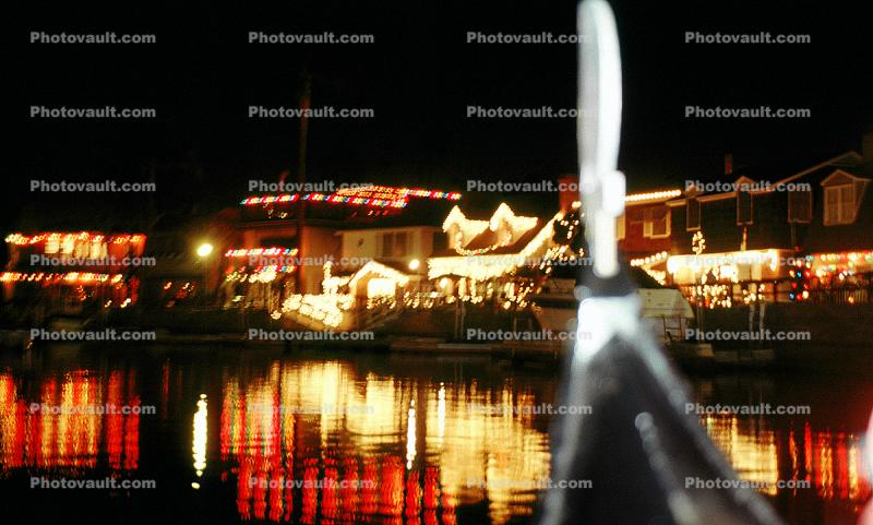 Dock, Canal, Water, Home, House, Snow, Cold, night, nighttime, decorated, lights