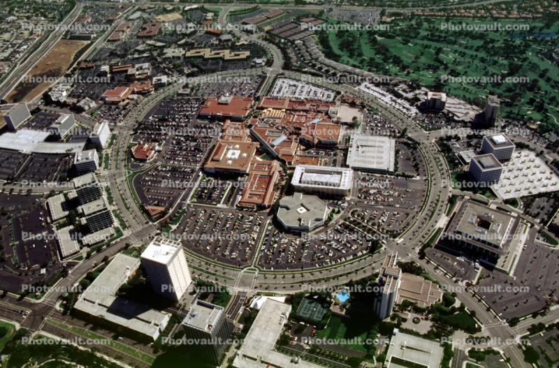 Fashion Island, Shopping Center, buildings, parking lots, circle, rooftop, roof top, mall, landmark